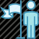 achievement, business, flag, goal, success, user icon