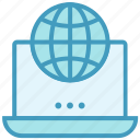 globe, laptop, notebook, office, online business, world business icon