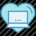 business, favorite, heart, laptop, like, online business