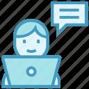 business, communication, employee, laptop, online business, talk, user