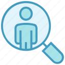 business, magnifier, magnifying glass, searching user, user icon