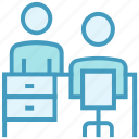 boss, business, customer, deal, office, table chair, worker icon