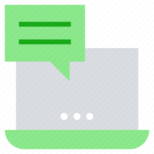 business, comment, laptop, notebook, online business, talk icon