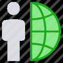business, globe, international job, online business, person, user, world icon