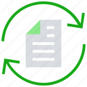 arrows, document, online business, page, paper, sync icon