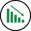 arrow, bars, business, data, down, low icon