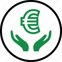 currency, euro, hand, hands, money, online, sign icon