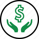 dollar, hand, hands, money, rich, sign, wealth icon