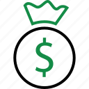 bag, business, dollar, finance, funds, money, sign icon