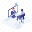business meeting, online meeting, teleconference, video call, video conference icon