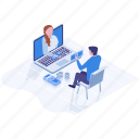 business discussion, business meeting, business negotiations, business talks, online financial meeting icon