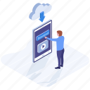 cloud computing, cloud downloading, cloud storage, cloud technology, data downloading icon