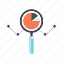 business, glass, magnifying, marketing, research, search, statistics icon