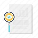 analytics, business, document, glass, magnifying, research, search icon