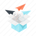 box, business, email, message, package, send, unboxing icon
