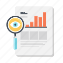 analytics, business, information, magnifying glass, research, search, statistics icon