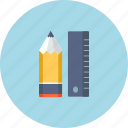 business, marketing, note, pen, pencil, ruler, writing icon