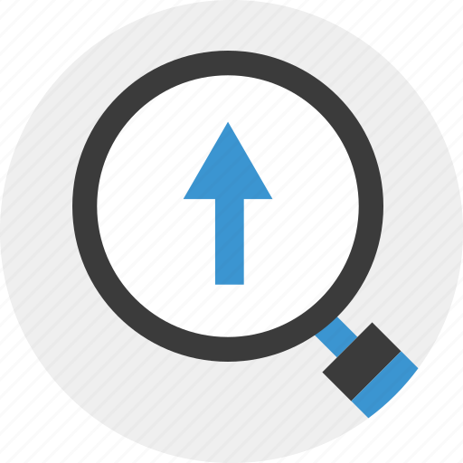 arrow, business, find, growing, look, up icon