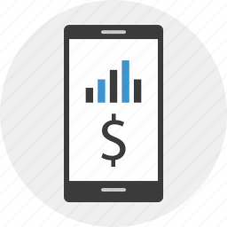 banking, business, buy, cell, dollar, phone icon