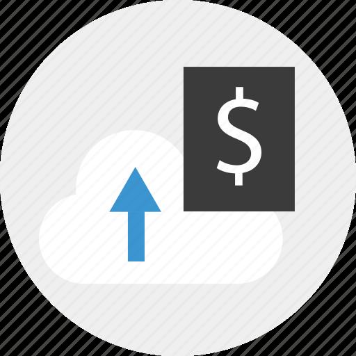 cloud, data, dollar, signs, upload icon
