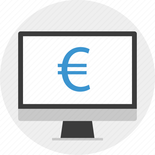 euro, money, monitor, sign icon