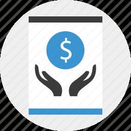 coin, dollar, grow, hand, money icon