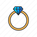 diamond, gold ring, jewelry, ring icon