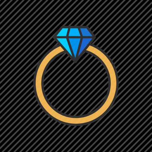 diamond, gold ring, jewelry, ring icon