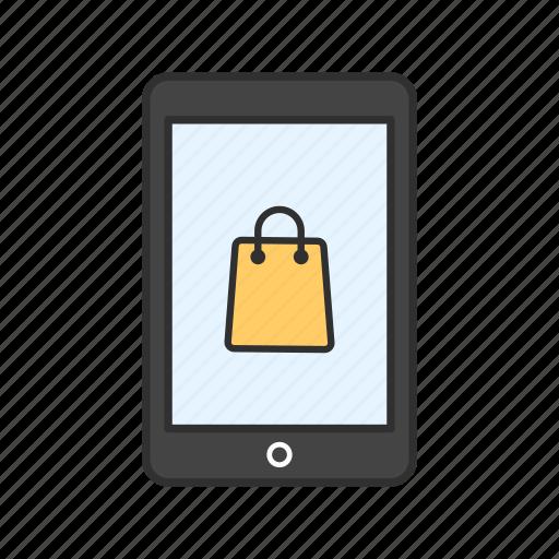 phone, shopping, shopping bag, tablet icon