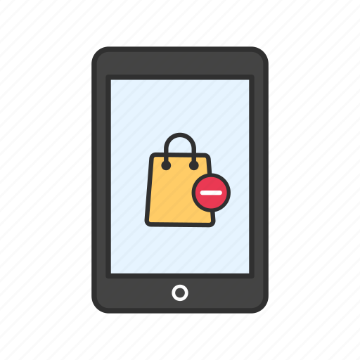 phone, remove from bag, shopping, tablet icon