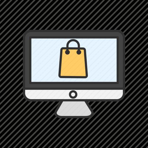 computer, mac, shopping, shopping bag icon