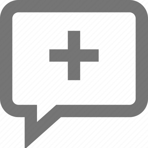 add, chat, comment, material, outline, plus icon