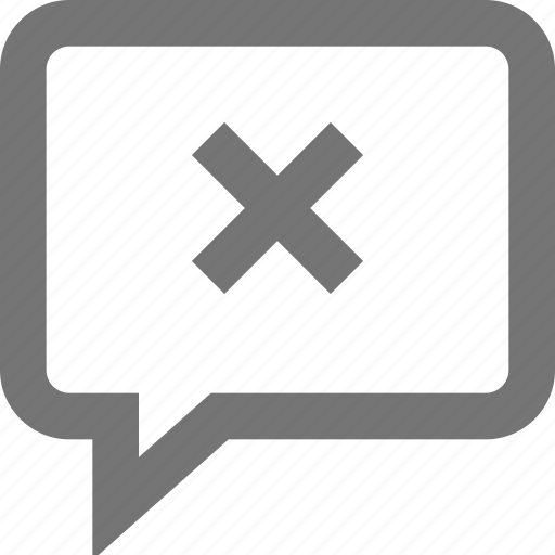 cancel, chat, comment, delete, material, outline, remove icon