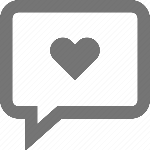 chat, comment, heart, love, material, outline, romantic icon