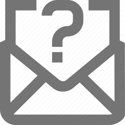 help, mail, material, message, outline, question icon