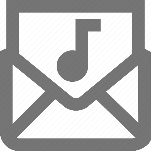 audio, mail, material, message, music, outline icon
