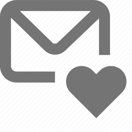 heart, love, mail, material, message, outline icon