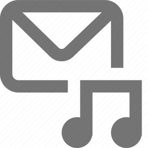 audio, mail, material, message, music, outline, song icon