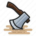 axe, chop, hatchet, lumberjack icon