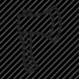 axe, chop, hatchet, line, lumber, wood icon