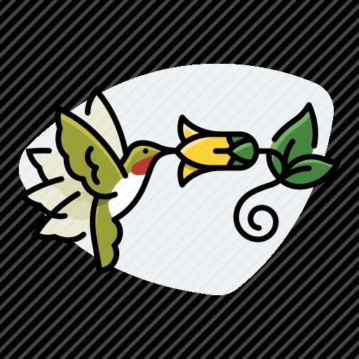 bird, flower, hummingbird, nectar icon