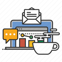 analytics, chat, coffee, e-mail, email, online icon