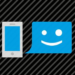 hello, hi, message, mobile, online, phone icon