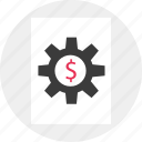 business, dollar, gear, sign, work icon