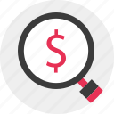 business, for, look, magnifier, money icon