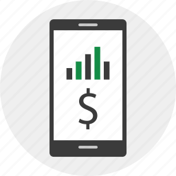 business, cell, dollar, phone icon