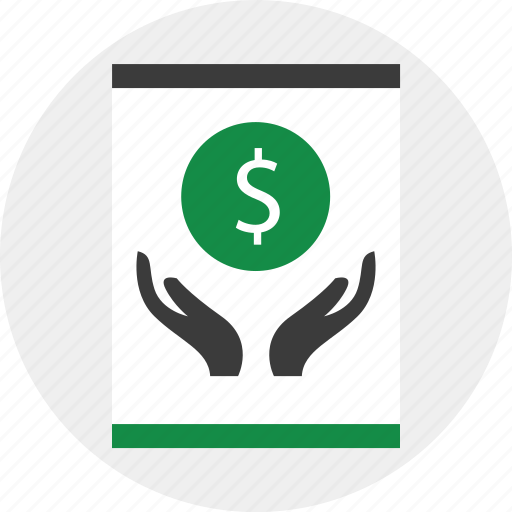 business, coin, hands, online icon