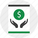 business, coin, grow, hands, online, web icon