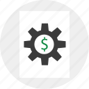 business, dollar, gear, options, setup icon