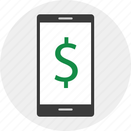 business, dollar, mobile, sign icon